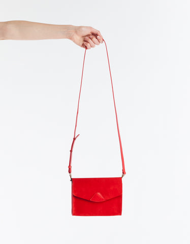 VereVerto Mini Mox Clutch, Crossbody & Hip Pack Cherry Suede