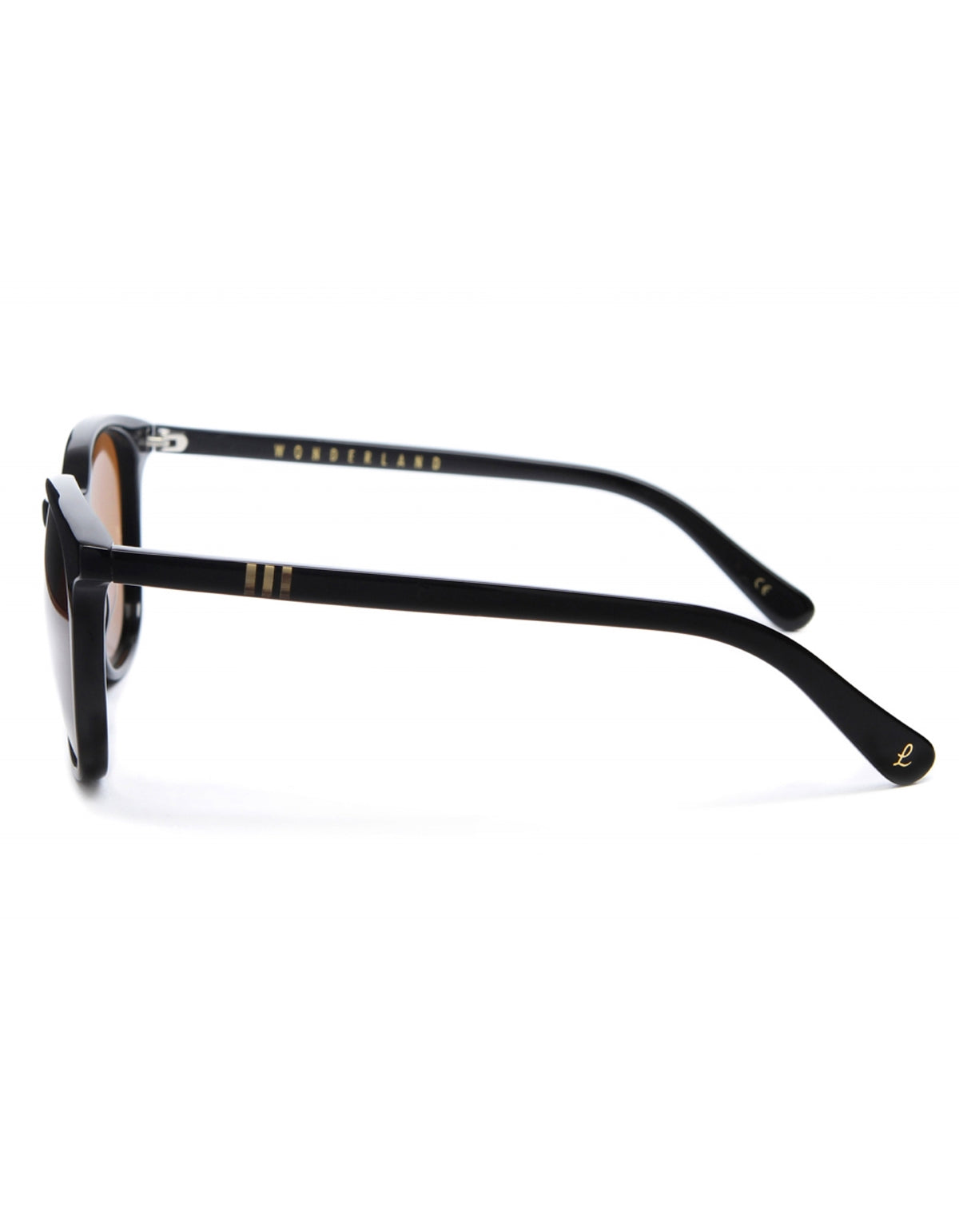 Wonderland Barstow Sunglasses, Gloss Black, Bronze