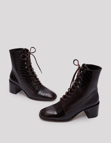 E8 by Miista Emma Lace-Up Croc Leather Boot