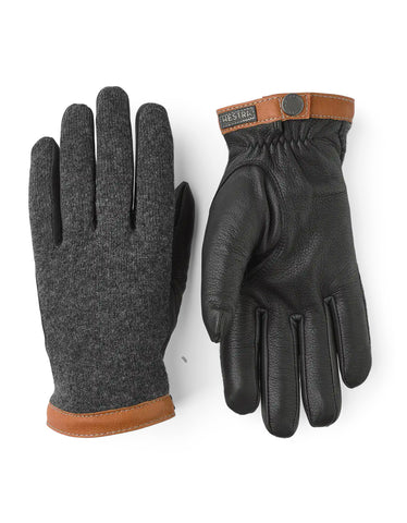 Hestra Deerskin Wool Tricot Gloves in Charcoal/Black