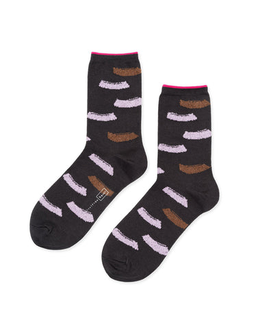 Hansel From Basel Brushstroke Crew Sock Charcoal - Still Life