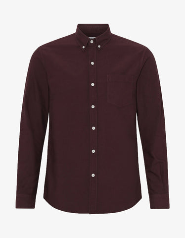 Colorful Standard Organic Button Down Shirt in Oxblood Red