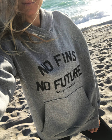 **NEW** No Fins No Future Save Sharks Women's Hoodie