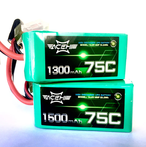 Acehe 1300/1500 mah 75C 4S Racing Batteries LiPo TGS