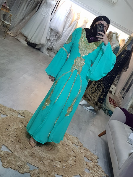 Leila Gypsy Kaftan in Mint Green