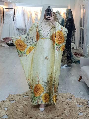 Asha Printed Silk Kaftan Yellow