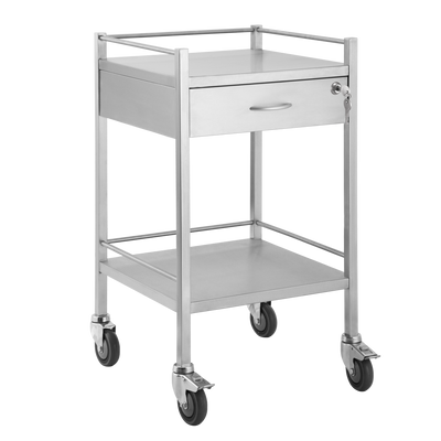 Trolley and Cart Pacific Medical Single Trolley Stainless Steel with Lock 1 Drawer SST01 Lock 1
