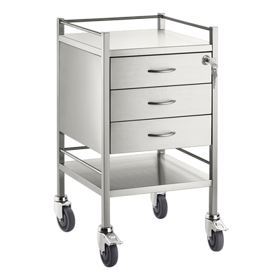 Trolley and Cart Pacific Medical Single Trolley Stainless Steel with Lock 3 Drawer SST03 Lock 1