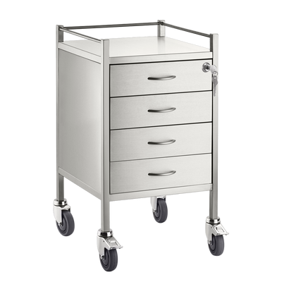 Trolley and Cart Pacific Medical Single Trolley Stainless Steel with Lock 4 Drawer SST04 Lock 1