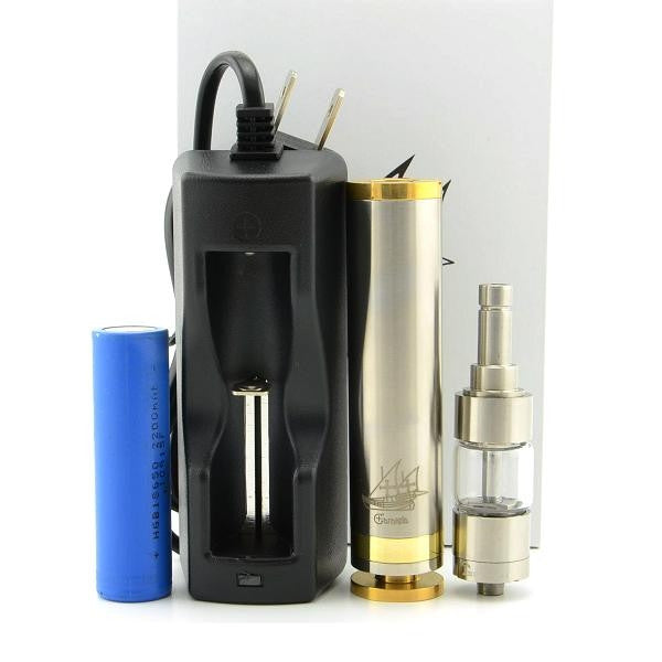 Newest 2200mAh Caravela 18650 Mechanical Mod Electronic Cigarette with Tesla A4 Atomizer - Stainless Steel+ Golden - Mygadget.us