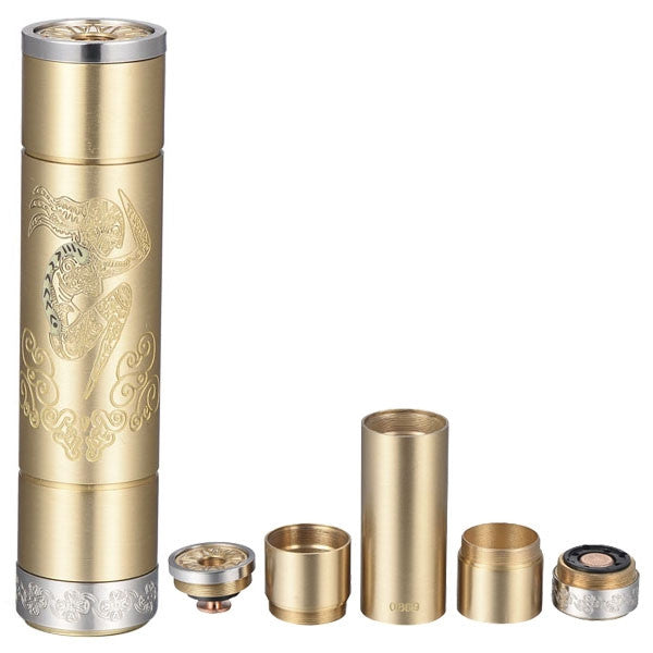 Popular Design and Copper Pin Tesla EMMA Mechanical Mod 18650 Electronic Cigarette Battery Tube - Brass - Mygadget.us