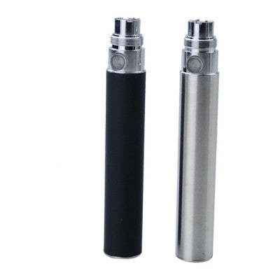 2 Pcs 900mAh Electronic Cigarette Battery - Stainless Steel Color & Black - Mygadget.us