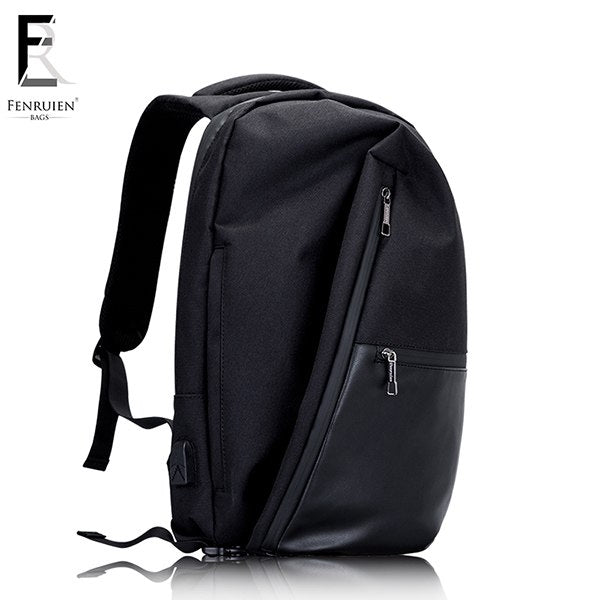 Black Multifunctional USB Waterproof Computer Backpack Anti theft For Teenager