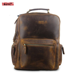 BJYL Autumn and winter crazy horse leather travel backpack