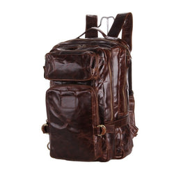Nesitu Vintage Genuine Leather Unisex Men Backpack