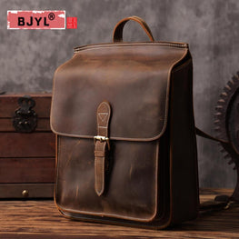 BJYL Brand Retro art first layer cowhide shoulder Bag
