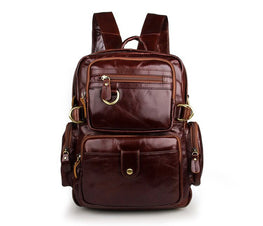 High Quality Vintage Brown Genuine Leather Women Backpacks for Girl Real Skin Lady Female Shoulder Bags M7042