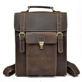 Men Fashion Backpack Crazy horse Leather