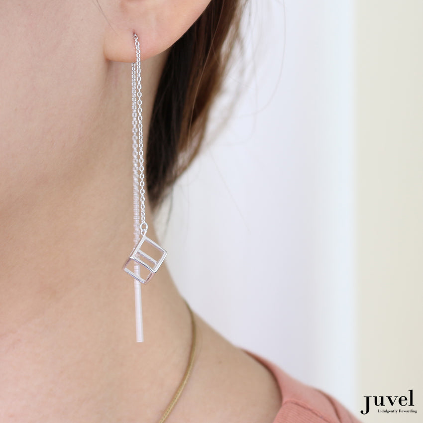 Juvel Classic: Threader Cubic Earrings (Pink Gold Plated)