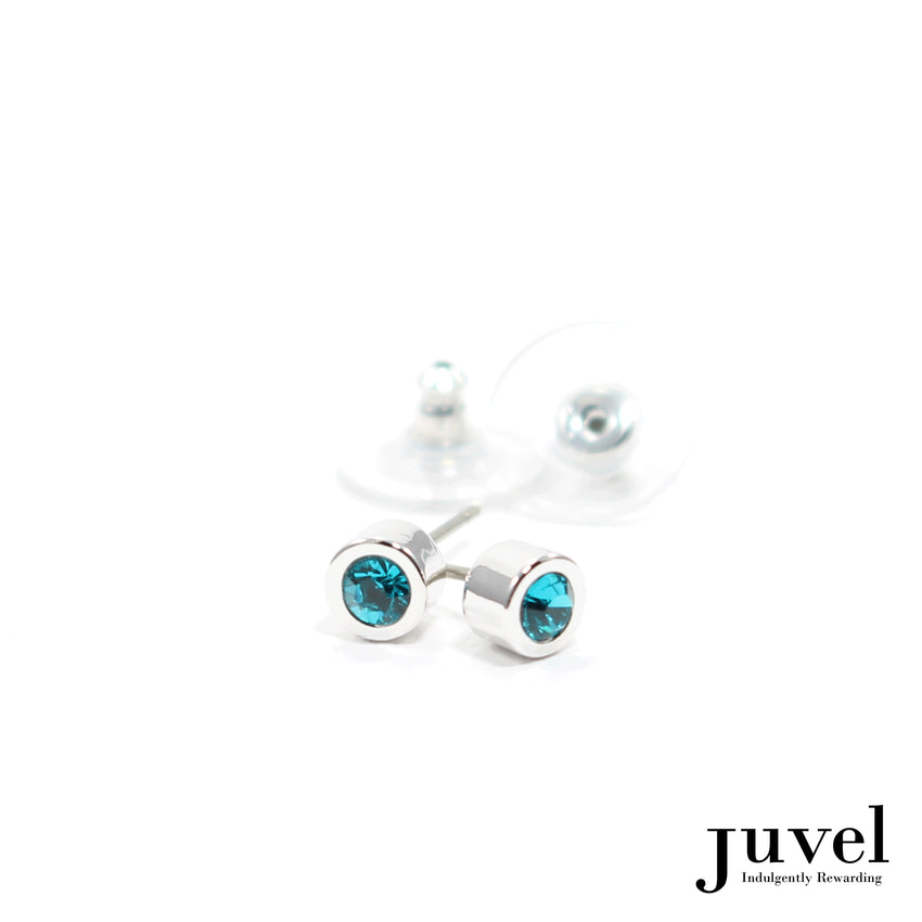 Juvel Off-Set Blue Zircon Stud Earrings