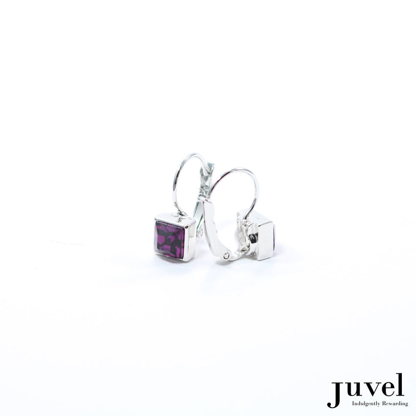 Juvel Square Clip Earrings (Amethyst)