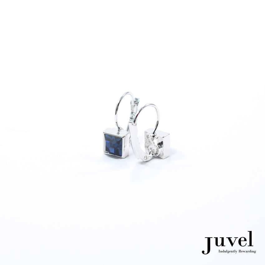 Juvel Square Clip Earrings (Dark Indigo)