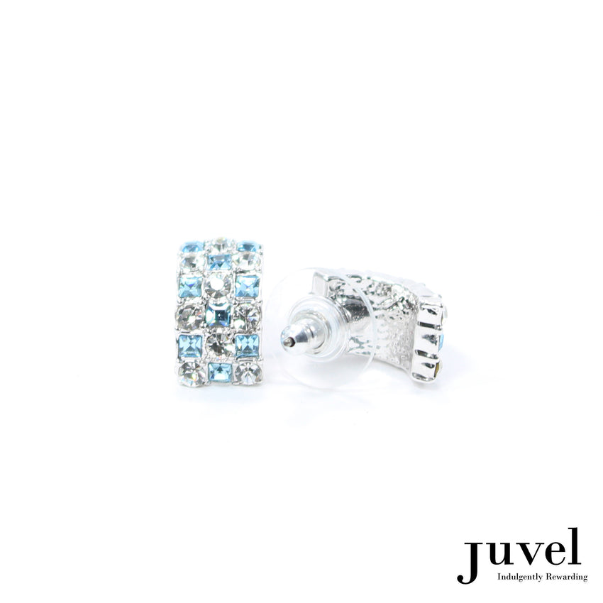Juvel Curved Clear/Aquamarine Earrings