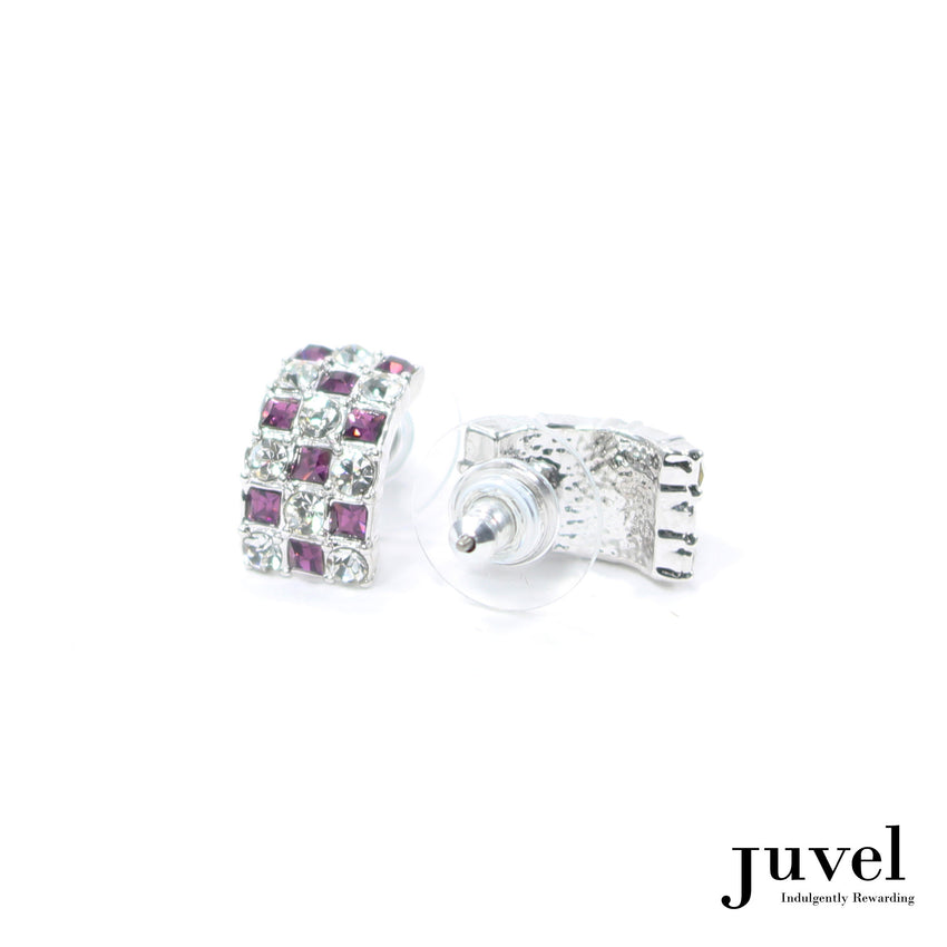 Juvel Curved Clear/Amethyst Earrings