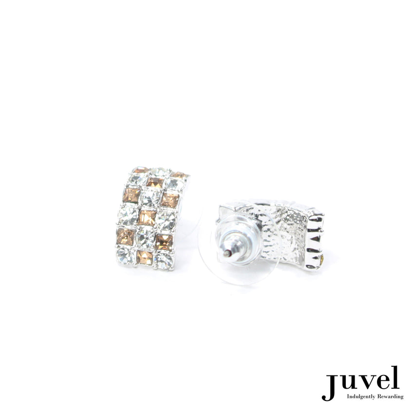 Juvel Curved Clear/Light Peach Earrings
