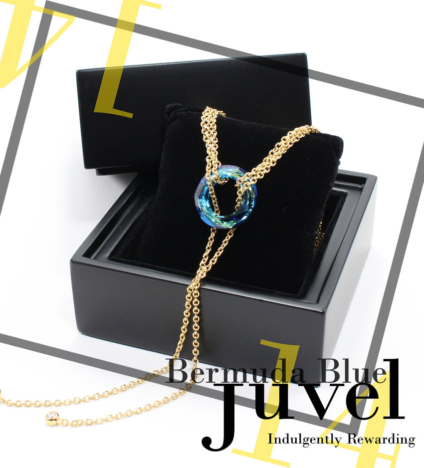 Juvel Gatsby Bermuda Blue Necklace (14K Gold Plated)