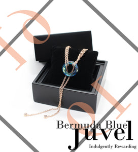 Juvel Gatsby Bermuda Blue Necklace (19K Pink Gold Plated)