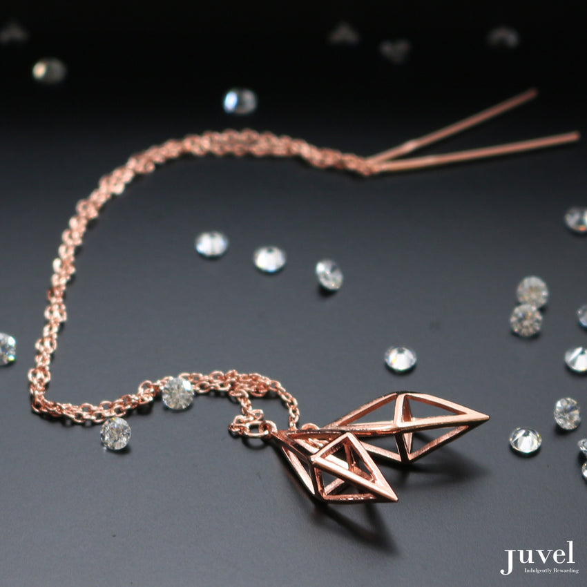 Juvel Classic: Threader Octahedron Earrings (Pink Gold Plated)