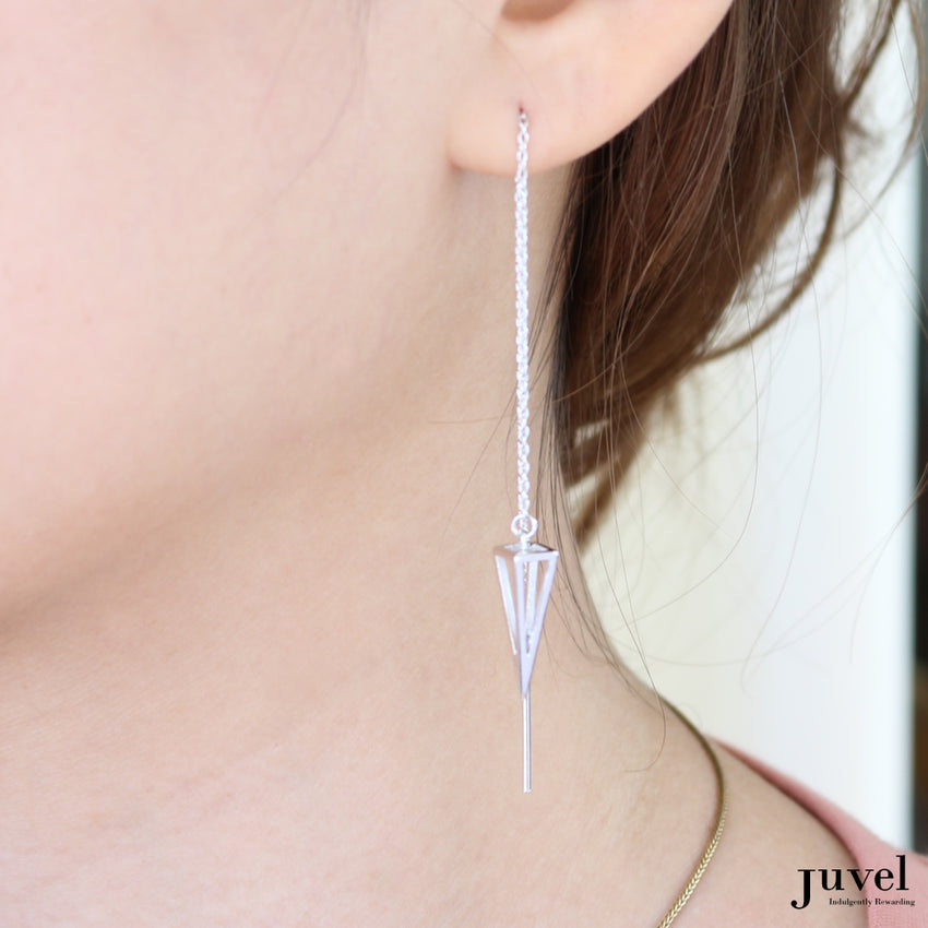 Juvel Classic: Threader Square-based Pyramid Earrings (Pink Gold Plated)