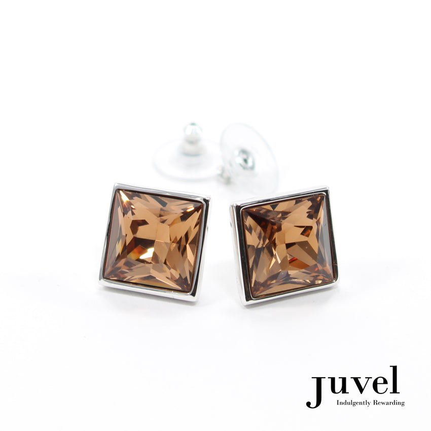 Juvel Square Light Smoked Topaz 1.4 Earrings