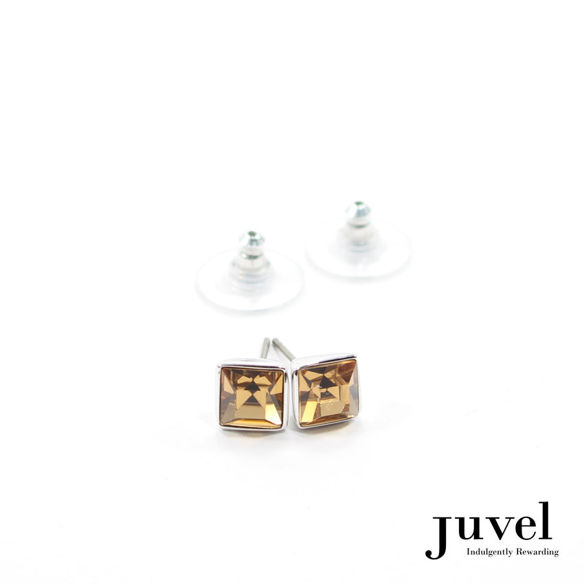 Juvel Light Smoked Topaz Square 0.7 Earrings