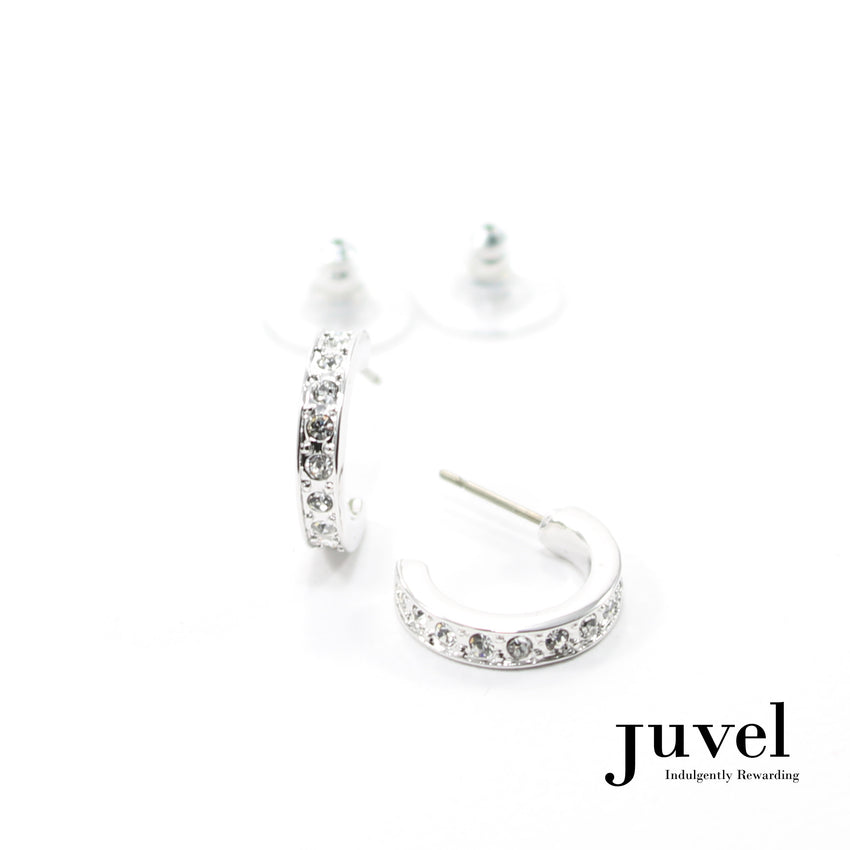 Juvel Half Hoop Clear Earrings