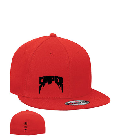 SFW Stretchable Wool Blend Flat Visor Pro Style Red or Black Cap w/ Emb Logo