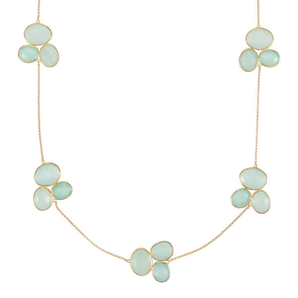Nadira 18ct gold plated Aqua Chalcedony trilogy cluster necklace