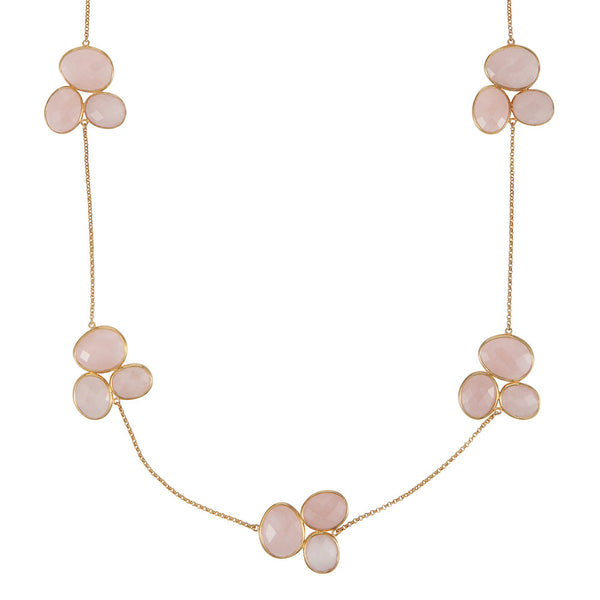 Nadira 18ct gold plated Rose Quartz trilogy cluster necklace
