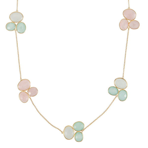 Nadira 18ct gold plated Aqua Chalcedony & Rose Quartz trilogy cluster necklace
