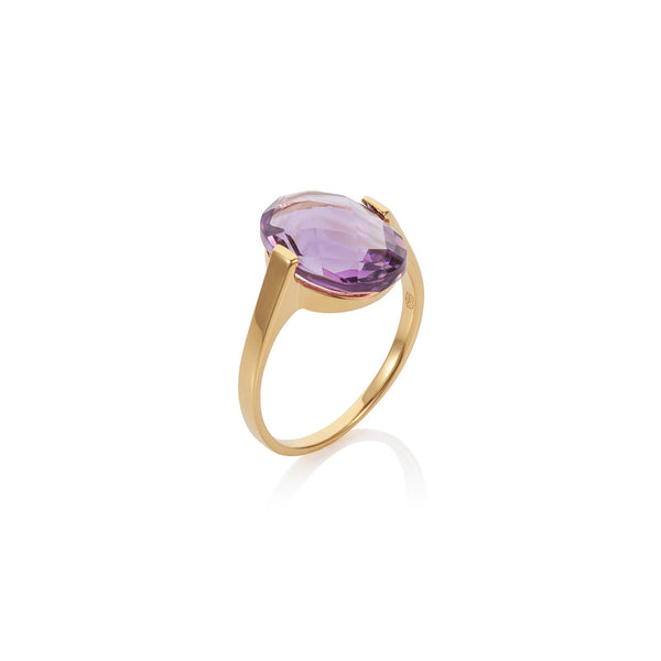 Nadira 18ct gold plated oval checkerboard cut Amethyst dress ring