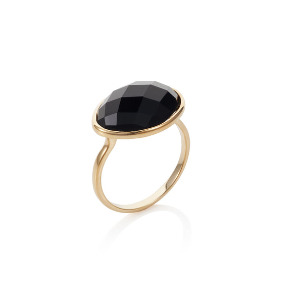 Nadira 18ct gold plated oval checkerboard cut black agate ring