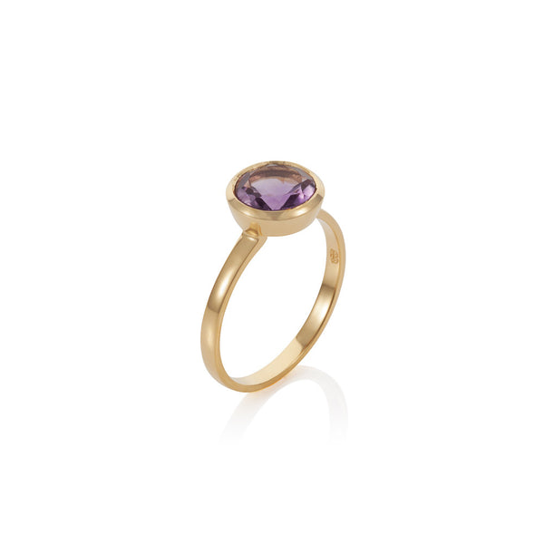 Nadira 18ct gold plated brilliant cut Amethyst solitaire ring