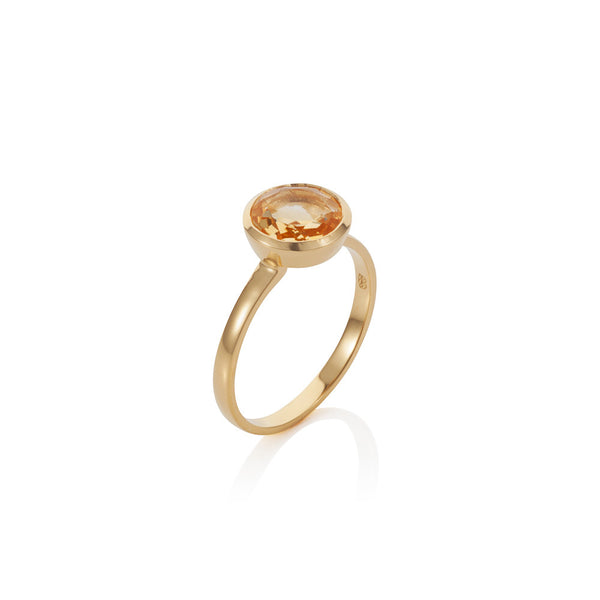 Nadira 18ct gold plated brilliant cut Citrine solitaire ring