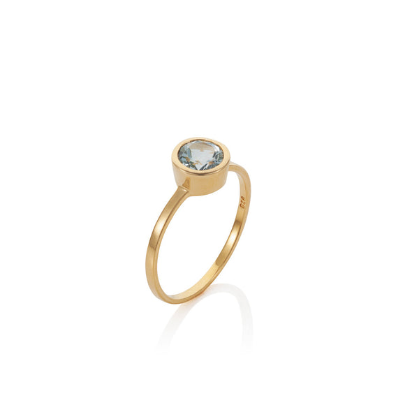 Nadira 18ct gold plated brilliant cut Blue Topaz solitaire ring