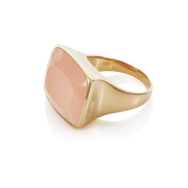 Nadira 18ct gold plated Rose Quartz faceted freeform dress ring