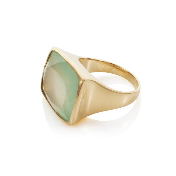 Nadira 18ct gold plated Aqua Chalcedony faceted freeform dress ring