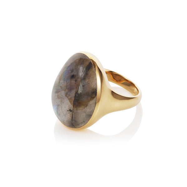 Nadira 18ct gold plated Labradorite seamless dress ring