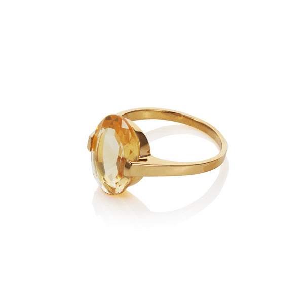 Nadira 18ct gold plated oval checkerboard cut Citrine dress ring