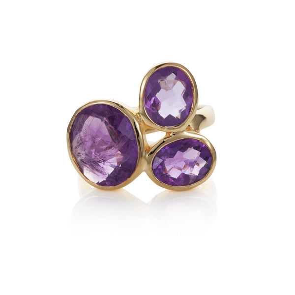 Nadira 18ct gold plated African Amethyst trilogy dress ring